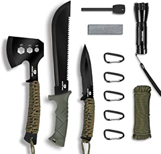Mossy Oak Axe and Fixed Blade Knife with Sheath, One-Piece Camping Hatchet and Hunting Knife with Rope Handle, Includes Zo...