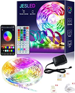 Taśma LED, JESLED 6 m Bluetooth RGB, aplikacja i pilot zdalnego sterowania, synchronizacja muzyki, SMD5050 RGB, zmiana kol...