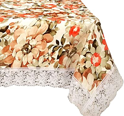 Kuber Industries Dining Table Cover Tablecloth Waterproof Protector 6 Seater with Flower Printed, 60 X 90 Inches Rectangle (Cream), Standard (HS_36_KUBMART019099)