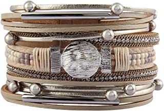 Jeilwiy Womens Leather Boho Bracelet Wrap Bracelets Gorgeous Tube Bracelet Handmade Bangle Jewelry for Women Birthday Christmas Gifts