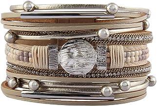 Jeilwiy Womens Leather Boho Bracelet Wrap Bracelets Gorgeous Tube Bracelet Handmade Bangle Jewelry for Women Birthday