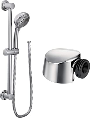 Moen A725 Drop Ell for Handheld Showerhead, Classic Brushed Nickel with Moen 3669EP Handheld Showerhead with 69-Inch-Long Hose Featuring 30-Inch Slide Bar, Chrome