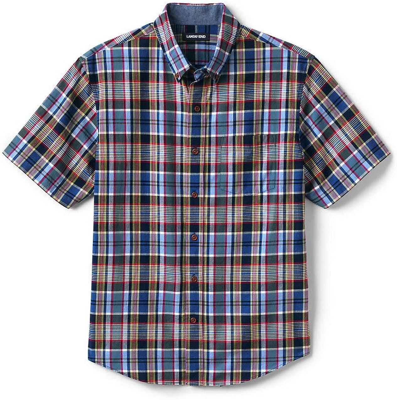 Lands' End Men's Traditional Fit Short Sleeve Madras Shirt