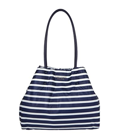 Kate Spade New York Everything Puffy Sailing Stripe Large Tote (Squid Ink Multi) Handbags