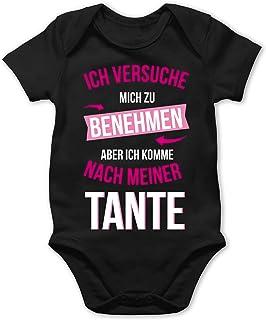 Shirtracer - Sprüche Baby - Ich versuche Mich zu benehmen Aber ich komme nach meiner Tante - Baby Body Kurzarm für Jungen und Mädchen