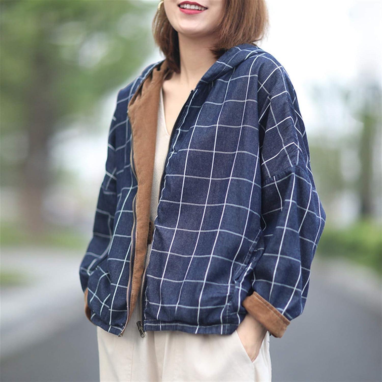 WUCHENG Fashion Casual Women's Max 57% OFF Discount mail order Reversible Plaid Denim Jac
