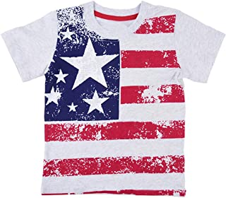 Sanmomo Kids Flag Print T-Shirts, 12 Month-6 Years Baby Short Sleeve Tees Tops for Boys and Girls