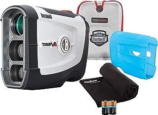 Bushnell Tour V4 (Standard) Golf Rangefinder Patriot Pack Bundle - with Carrying Case, Blue Protective Skin, PlayBetter Microfiber Towel and Two (2) CR2 Batteries