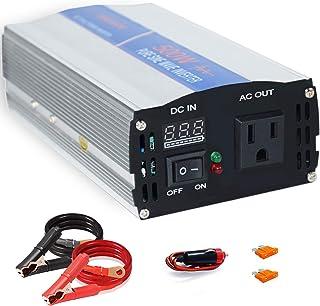 aeliussine 500W Power Inverter Pure Sine Wave Inverter 12v to 110v 120v Surge 1000 Watt Converter with Cigarette Lighter for Car RV Boat Solar Power System.