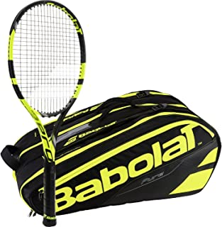 Babolat Pure Aero VS Yellow/Black Adult Tennis Racquet with a Pure Line Tennis Bag or Backpack
