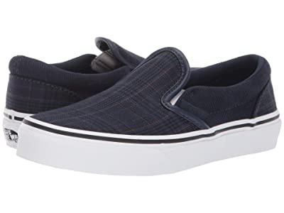 Vans Kids Classic Slip-On (Little Kid/Big Kid) ((Suiting) Dress Blue/True White) Boys Shoes
