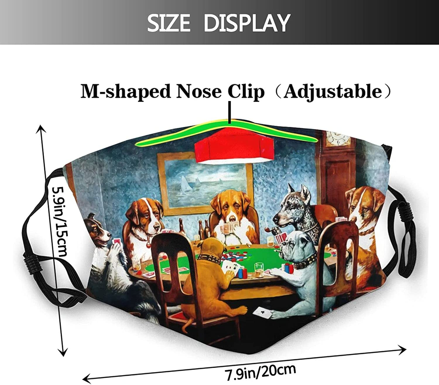 Funny Animal Dogs Face Mask Washable Reusable Mouth Cover Balaclavas for Men and Women with 2 Filters