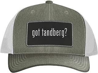 One Legging it Around got Tandberg? - Leather Black Metallic Patch Engraved Trucker Hat