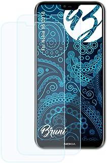 Bruni Skärmskydd är kompatibel med Nokia X6 2018 Film, kristallklart Skyddsfilm (2X)
