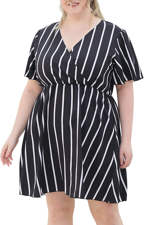 Nemidor Womens Casual V-Neck Plus Size Summer Boho Swing Wrap Dress with Pockets NEM266