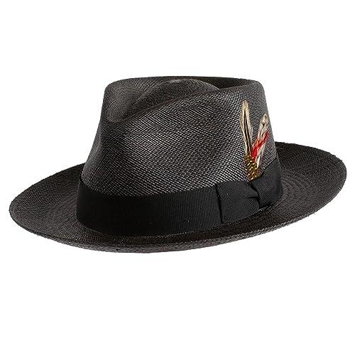 db52618347ae9b Levine Hat Co. Genuine Panama Bogart Fedora Straw Dress Hat (3+ Colors)
