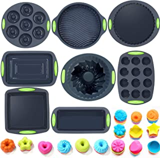 68in1 Silicone Bakeware Set, Nonstick Silicone Molds with Baking Sheets, Muffin Pan, Bread Pan, Pizza Pan, Cake Pan and Mini Cupcake Molds, Baking Donut Pan by To encounter