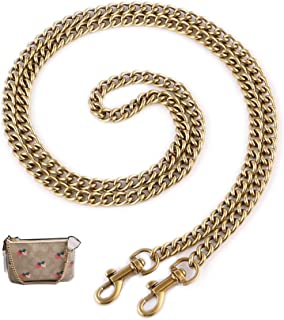 """OAikor Metal Flat Chunky Chain Strap Replacement for Purse Shoulder Bag Handbag Straps Accessories 43"""" with Buckles(Gold)"""