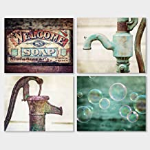 "Farmhouse Bathroom or Laundry Room Wall Decor Set of 4 5x7"" Art Prints (Not Framed) - Rustic Bubbles Wall Art in Teal Brown Aqua Blue Red."