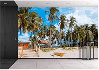 wall26 - Landscape of Coconut Palm Tree on Tropical Beach in Summer - Removable Wall Mural   Self-Adhesive Large Wallpaper - 100x144 inches