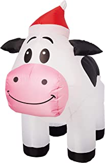 Gemmy 3FT Tall Inflatable Christmas Cow with Santa Hat Indoor/Outdoor Holiday Decoration