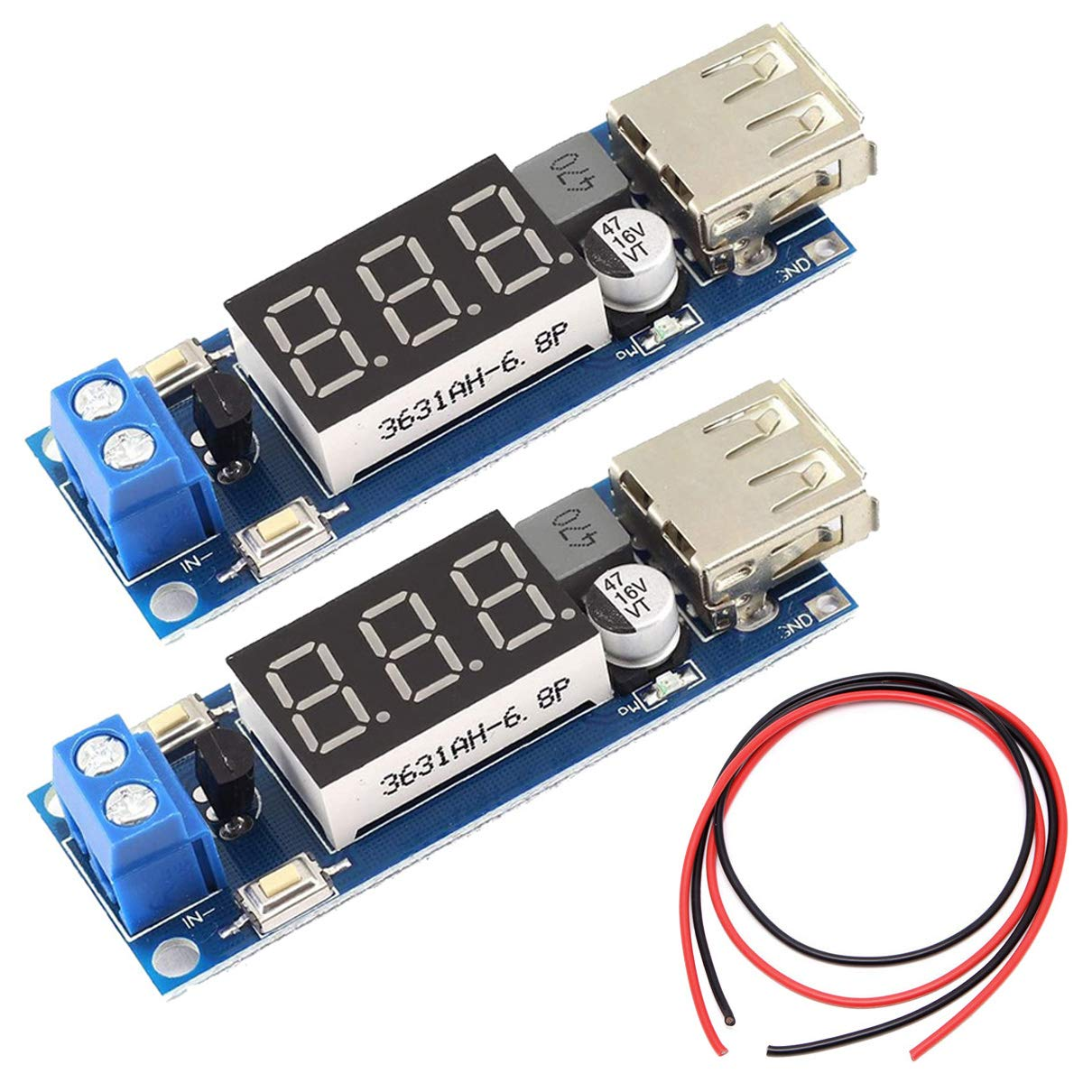 DAOKI 2 Pack DC-DC Buck Voltage Converter 6.5-40V to 5V 2A Step-Down USB Output Voltmeter Module Low Power Transformer with LED Display, 24AWG Wire