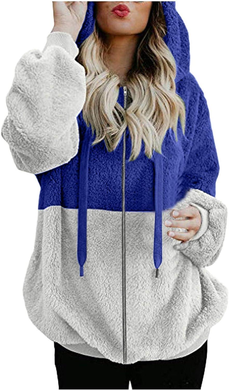 2021 Womens Long Sleeve Plus Size Zip Up Faux Sherpa Fleece Oversized Hooded Sweatshirt Jacket with Pockets Drawstring