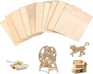 Hileyu Balsahouten platen, 10 stuks 300 x 300 x 1,5 mm dun balsahout, onbeschilderd lindemultiplex, doe-het-zelf model hou...