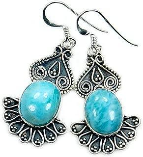 Filigree Style Sterling Silver Genuine Dominican Larimar Dangle Earrings