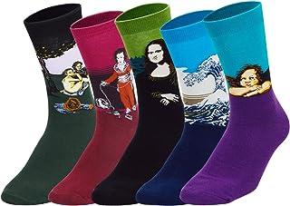 4/5 Pares Calcetines para Hombre y Mujer Calcetines Divertidos de invierno Casual Socks de Algodón Patrones Coloridos
