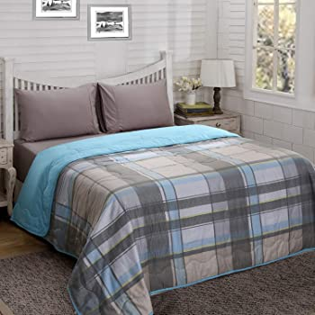 Maspar Essence Checkered Double Comforter - Blue