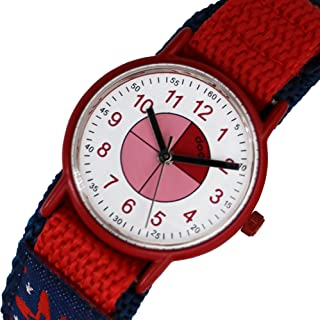 Doon Manuk - Watch with White & Pink Dial, Red & Blue Strap in Nylon