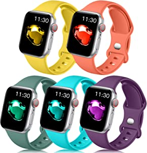 Easuny Compatible with Apple Watch Band 41mm 40mm 38mm Women Men - Sport Silicone Wristbands Replacement for iWatch Bands SE Series 7 6 5 4 3 2 1,5 Pack of Mango-Yellow Teal Coral Pine-Green Purple