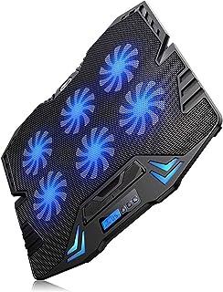 Bärbar datorkylplatta Laptop Kylpanna Gaming Laptop Cooler Pad med 6 Ultra Tyst Kraftiga Fans LED Lights 2 USB