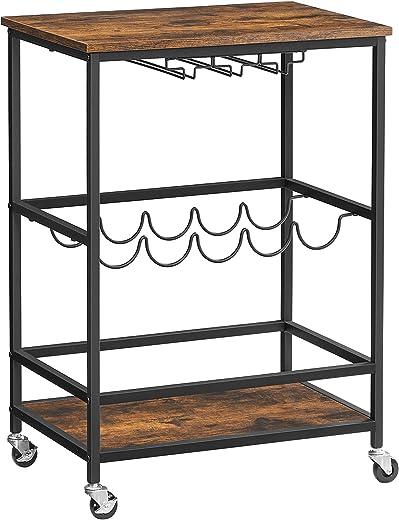 VASAGLE Servierwagen, Küchenwagen auf Rollen, mit Ablagen, Glas- und Flaschenhaltern, 60 x 40 x 75 cm, Industrie-Design, vintagebraun-schwarz…