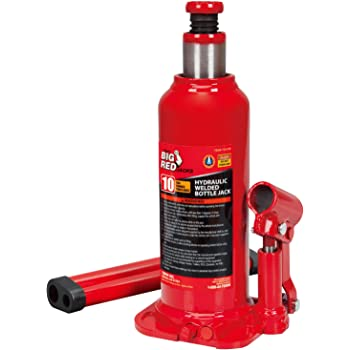 BIG RED T91003B Torin Hydraulic Welded Bottle Jack, 10 Ton (20,000 lb) Capacity, Red