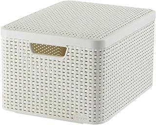 CURVER | Rangement Style Aspect rotin L + couvercle, Ivoire, Storage Others, 44,5x33x24,8 cm