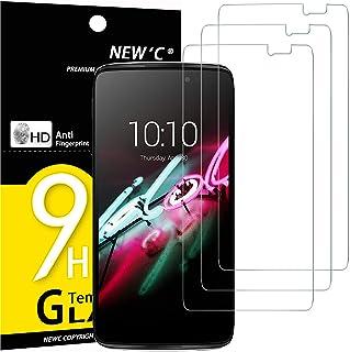 NEW'C 3-pack skärmskydd med Alcatel One Touch Idol 3 (5.5) – Härdat glas HD klar 9H hårdhet bubbelfritt