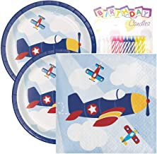 "Lil' Flyer Airplane Birthday Party Pack – Includes 7"" Paper Plates & Beverage Napkins Plus 24 Birthday Candles – Serves 16"