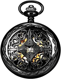 Steampunk Vintage Mechanical Skeleton Hunter Roman Letters Pocket Watch + Chains As Xmas Gift