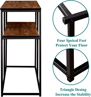 VECELO Multipurpose Console, Narrow Sofa 3-Tier Rustic Hallway Table with Storage Shelves for Entryway/Living Room,Easy Assem