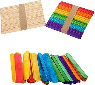 Rmeet Palillo de Madera,50 Pack Palos de Polo Colores + 50 Pack Original Palitos para Manualidades Naturales Paletas Hielo Crema para Bricolaje Artesanía 114MM