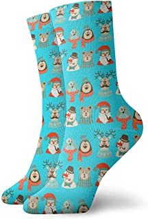 iuitt7rtree, Calcetines Lindos y Lindos de Tobillo de Papá Noel Casual Divertidos para Botas de Deporte Senderismo Running Etc calcetines6760