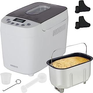 AREBOS Broodbakmachine | 1500 g | met 15 programma's | 2 kneedhaken | timer | lcd-display | 3 bruiningsgraden en broodmate...
