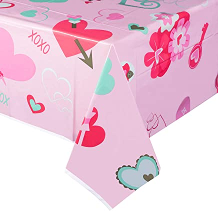 Juvale 3-Pack Pink Hearts Plastic Tablecloth - Rectangle 54 x 108 Inch Disposable Table Cover, Fits Up to 8-Foot Long Tables, Love and Hearts Themed, Valentines Day Party Supplies, 4.5 x 9 Feet