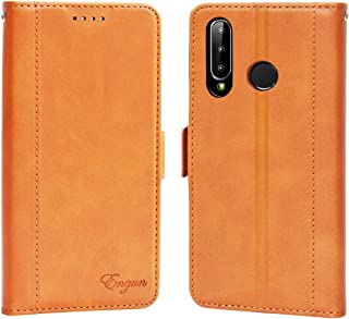 Huawei p30 lite ケース 手帳型 ファーウェイp30 lite カバー 財布型 マグネット式 横置き機能 カード収納 ストラップ通し穴 高級PUレザー Engun ファーウェイp30ライト用 ブラウン