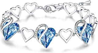 """Leafael Infinity Love Silvertone with Birthstone Crystal Women's Gifts Heart Bracelet, 7"""" with 2"""" Extender"""