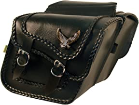 Dowco Willie & Max 58708-20 Black Magic Series: Synthetic Leather Compact Slant Motorcycle Saddlebag Set, Black, Universal Fit, 10 Liter Each/20 Liter Total Capacity