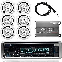 "Kenwood Marine Outdoor Bluetooth Stereo CD MP3 Player USB iPhone AM/FM Receiver, Kenwood 6.5"" Waterproof Speakers, Optional Kenwood Compact 4-Channel Amplifier, Enrock Antenna - Marine Audio Kit"