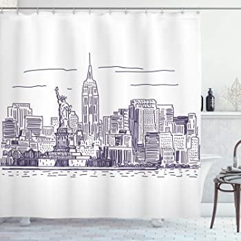 Ambesonne Apartment Decor Shower Curtain Gray White Fabric Bathroom Set with Hooks Photo of The Brooklyn Bridge Over East River and Tall Buildings Skylines at The Back 84 Inches Extralong